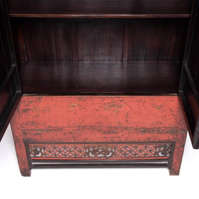 Qing 19th Century Chinese Gilt Red Lacquered Cabinet For Sale