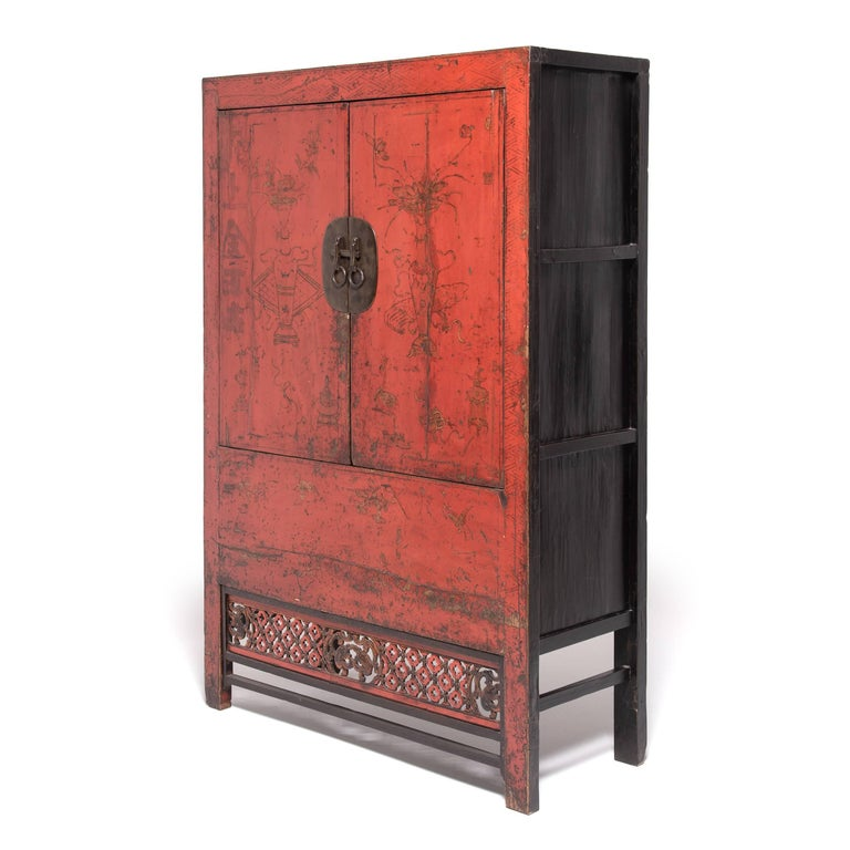 Brass 19th Century Chinese Gilt Red Lacquered Cabinet For Sale