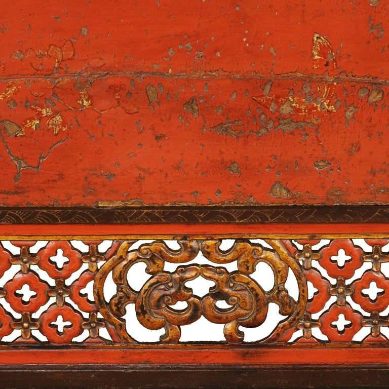 19th Century Chinese Gilt Red Lacquered Cabinet For Sale 1