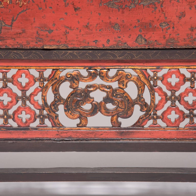 19th Century Chinese Gilt Red Lacquered Cabinet For Sale 4