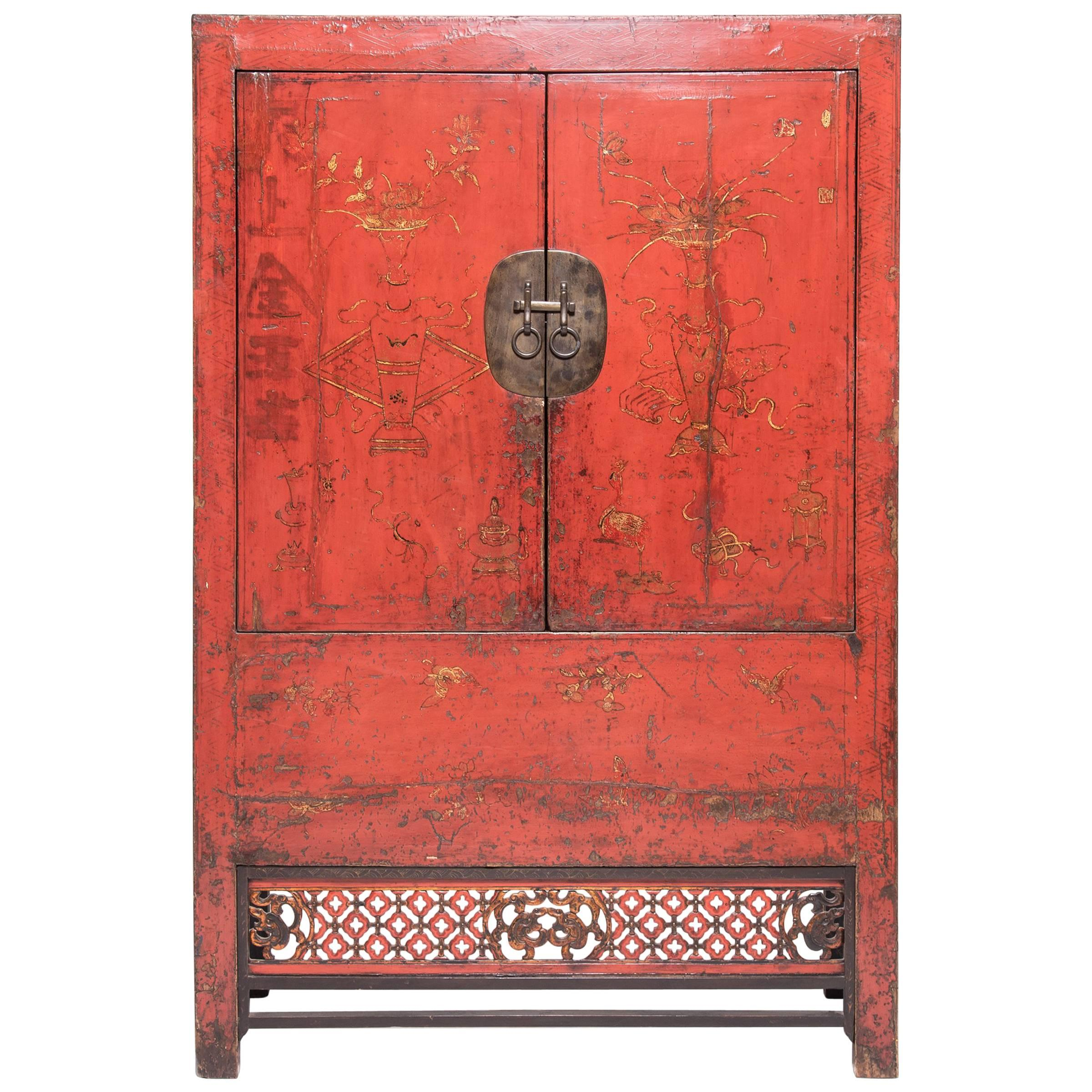 Chinese Gilt Red Lacquer Scholars' Cabinet, c. 1850