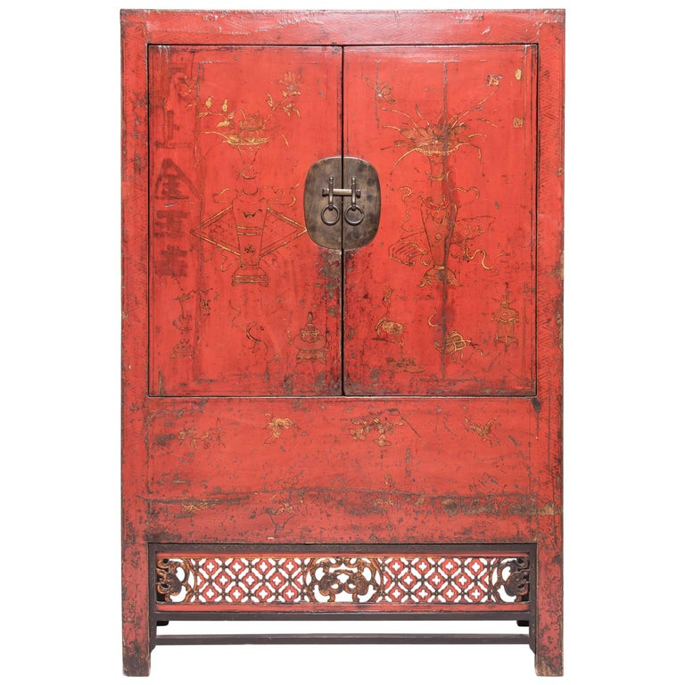19th Century Chinese Gilt Red Lacquered Cabinet For Sale