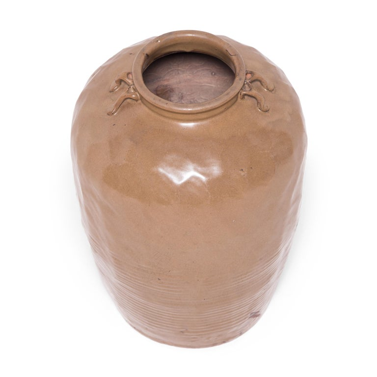 Rustic 19th Century Chinese Glazed Stoneware Jar For Sale
