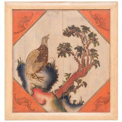 19th Century Chinese Golden Pheasant Panel