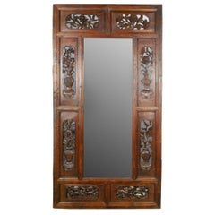 19th Century Chinese Grand Floral Carved Mirror