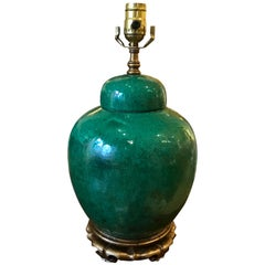 19th Century Chinese Green Crackle Vase as Lamp