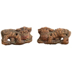 19th Century Chinese Guardian Lions in Original Condition