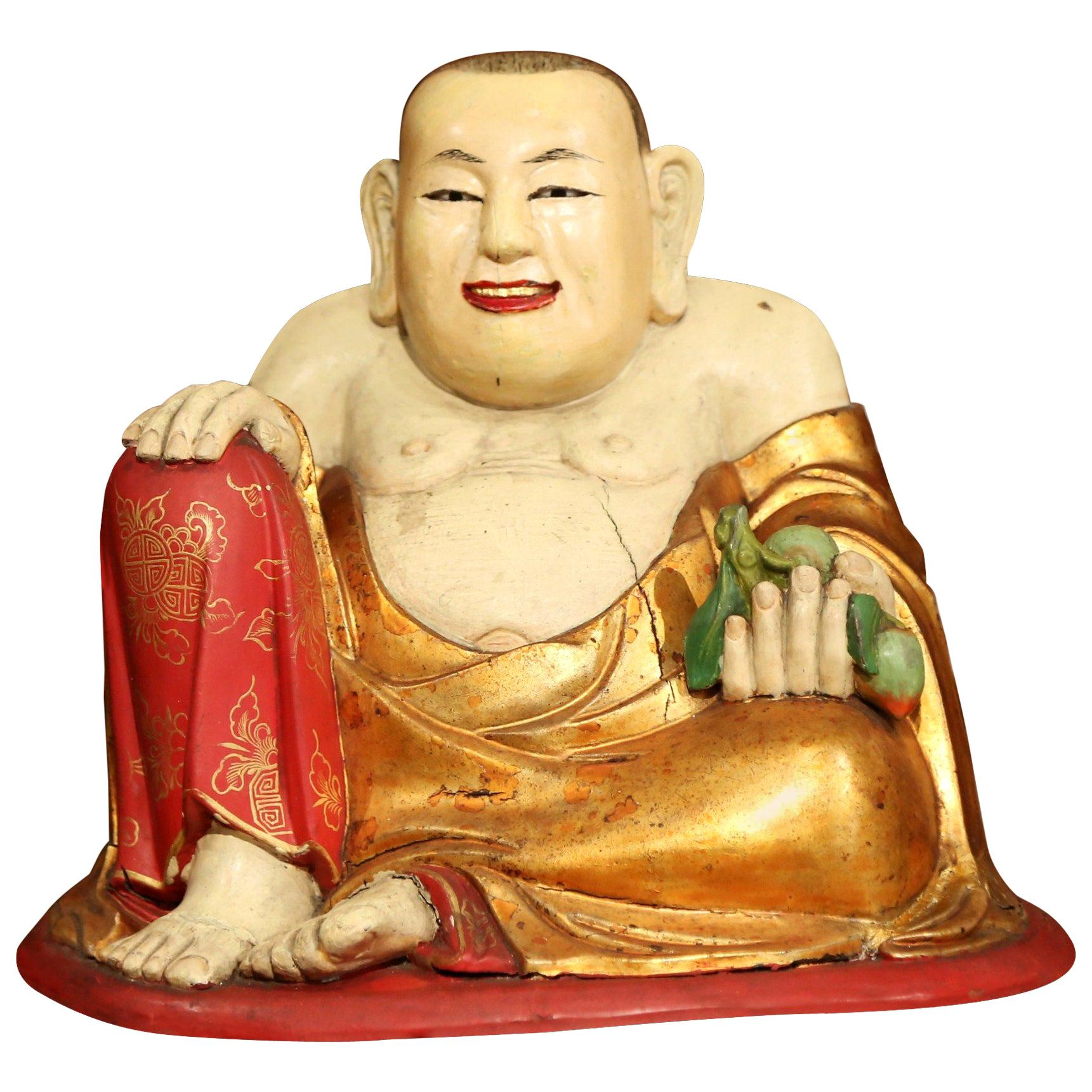 """19th Century Chinese Hand Carved Painted Polychrome """"Laughing Buddha"""" Sculpture"""