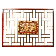 19th Century Chinese Hand-Carved Wedding Panel in Red Lacquer and Gold Leaf
