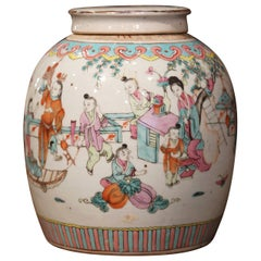 19th Century Chinese Hand-Painted and Gilt Porcelain Ginger Jar with Lid