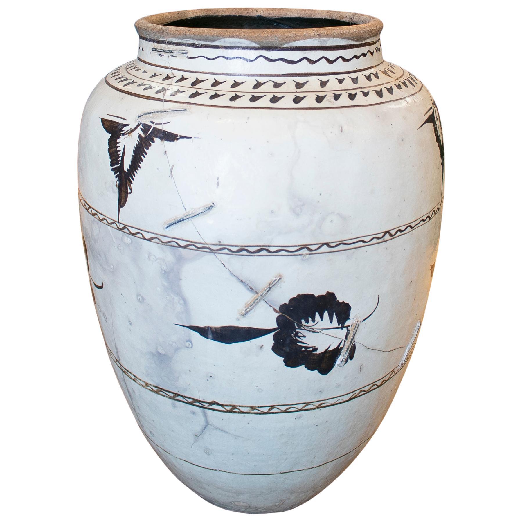 19th Century Chinese Hand Painted Glazed Ceramic Vase
