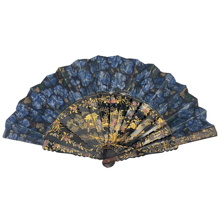 19th Century Chinese Hand Painted Lacquer Export Fan Even-Tail For Sale