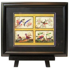 19th Century, Chinese Hand-Painted Silk Collage of Exotic Birds