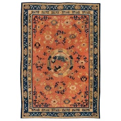 19th Century Chinese Handmade Wool Carpet in Salmon and Cobalt Blue Shades