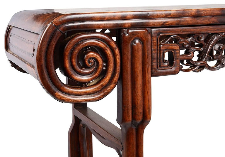Carved 19th Century Chinese Hardwood Alter Table For Sale