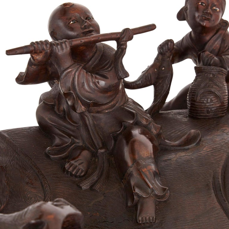 19th Century Chinese Hardwood Figural Group of Cow and Children In Good Condition For Sale In London, GB