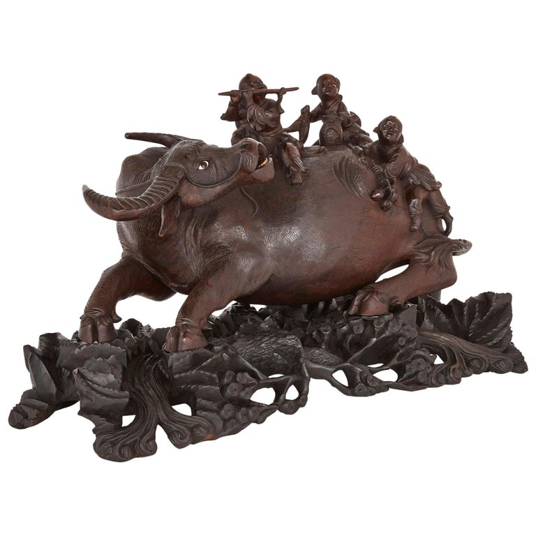 19th Century Chinese Hardwood Figural Group of Cow and Children For Sale
