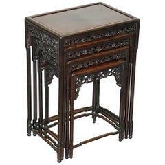 19th Century Chinese Hardwood Nest of Tables Heavily Fret Work Carved Floral