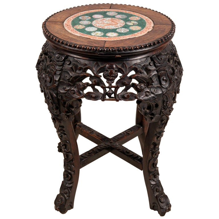 19th Century Chinese Hardwood Stand with Inset Famille Verte Plate For Sale