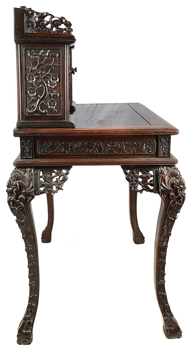 Chinese Export 19th Century Chinese Hardwood Writing Desk For Sale