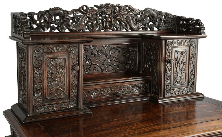 Hand-Carved 19th Century Chinese Hardwood Writing Desk For Sale