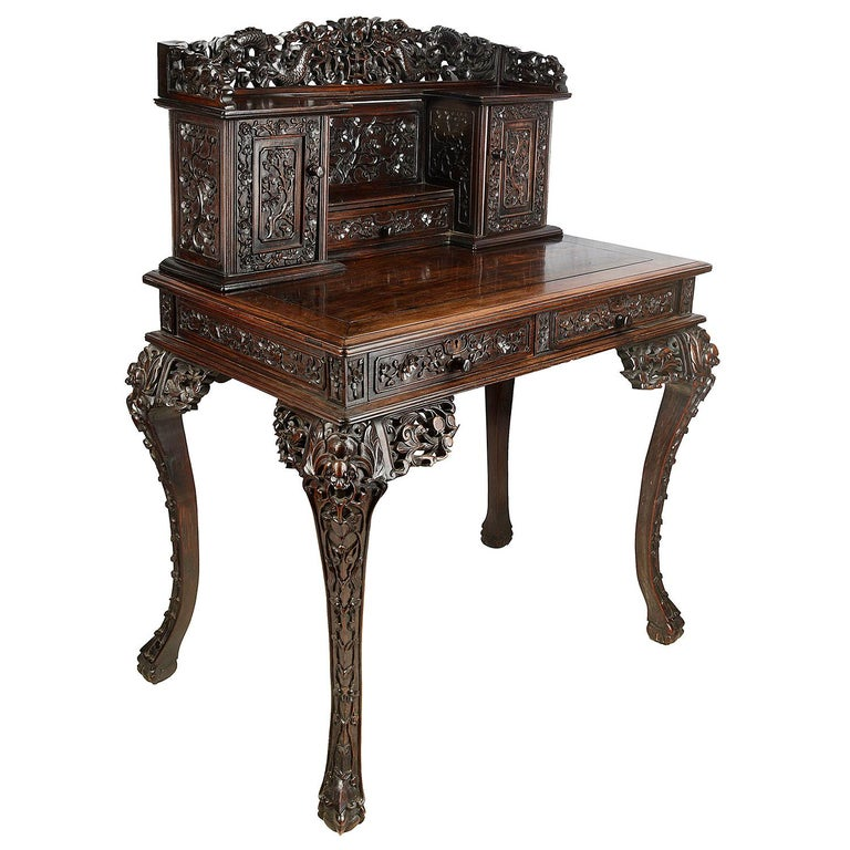 19th Century Chinese Hardwood Writing Desk For Sale