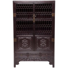 19th Century Chinese Honeycomb Lattice Display Cabinet