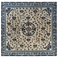 19th Century Chinese Indigo Blue and White Handmade Wool Rug
