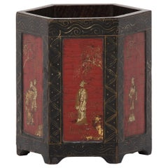 19th Century Chinese Lacquer and Gilt Brush Pot