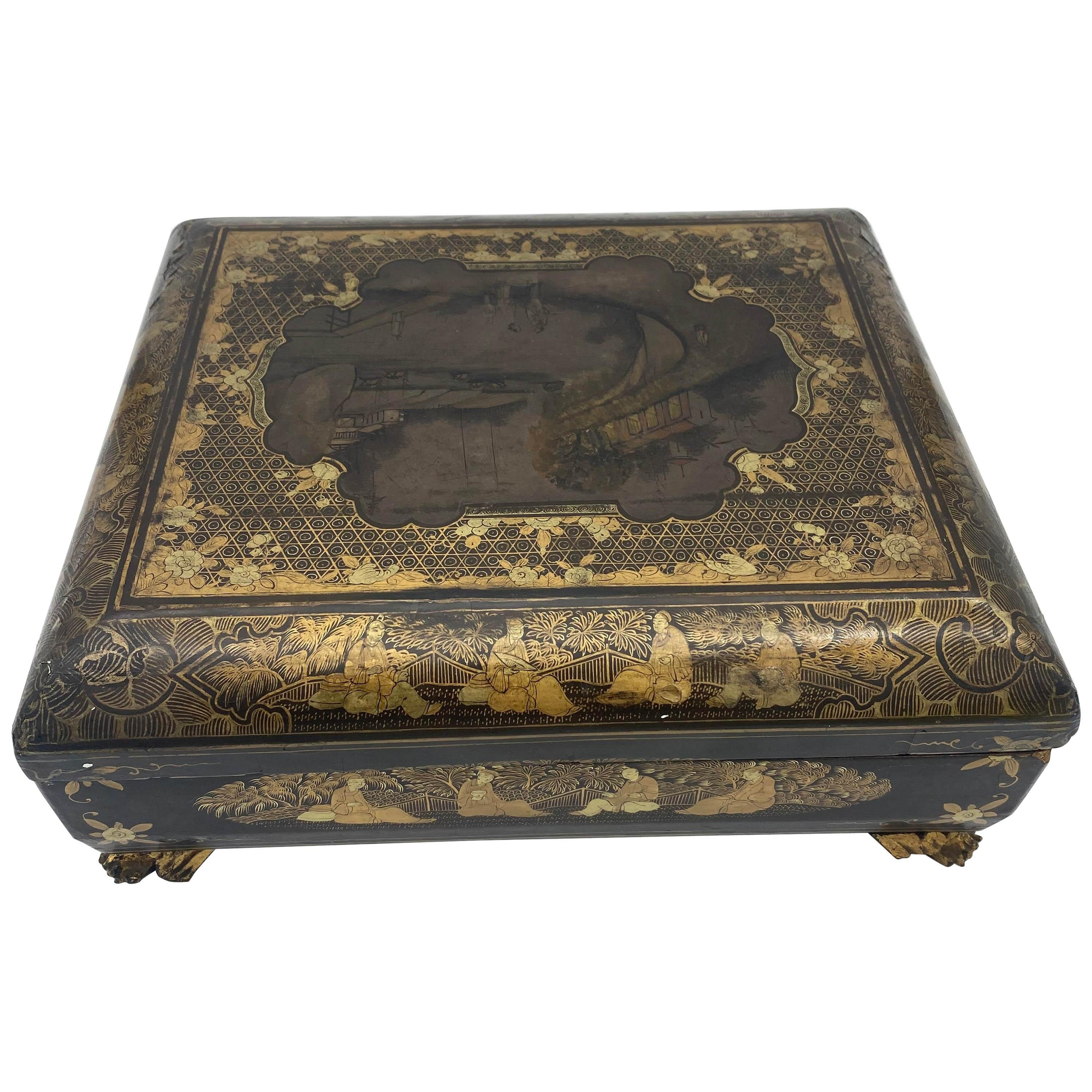 19th Century Chinese Lacquer Game Box