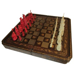 19th Century Chinese Lacquer Giltwood Board Chess Set