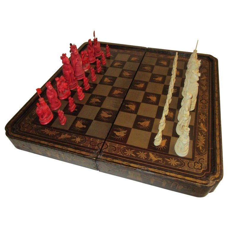 19th Century Chinese Lacquer Giltwood Board Chess Set For Sale