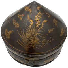 19th Century Chinese Lacquer Leather Hat Box