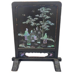 19th Century Chinese Lacquer Mother of Pearl Plaque