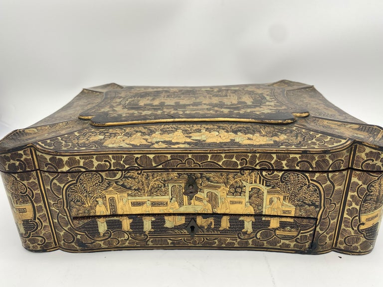 14 inch 19th Century Chinese Lacquer Sewing Box For Sale 5