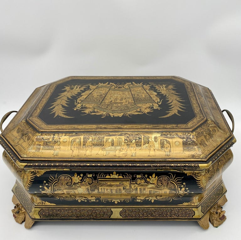 19th Century Chinese Lacquer Sewing Box For Sale 5