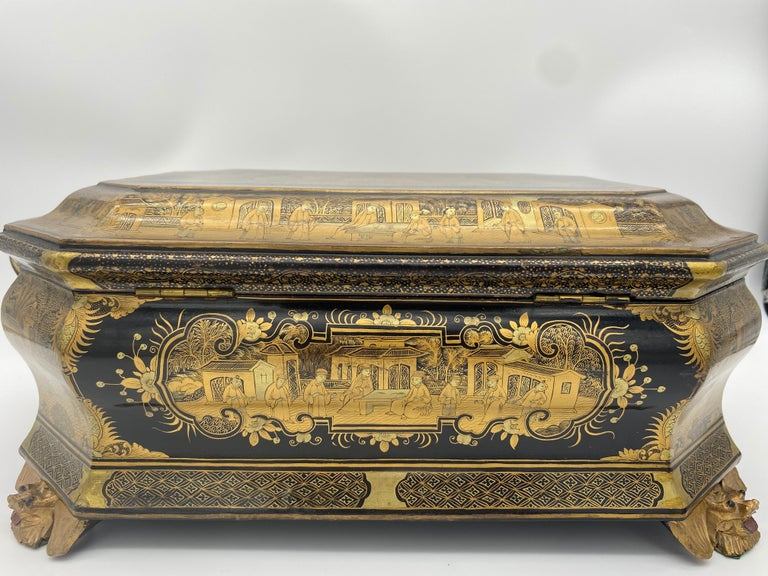 19th Century Chinese Lacquer Sewing Box For Sale 6