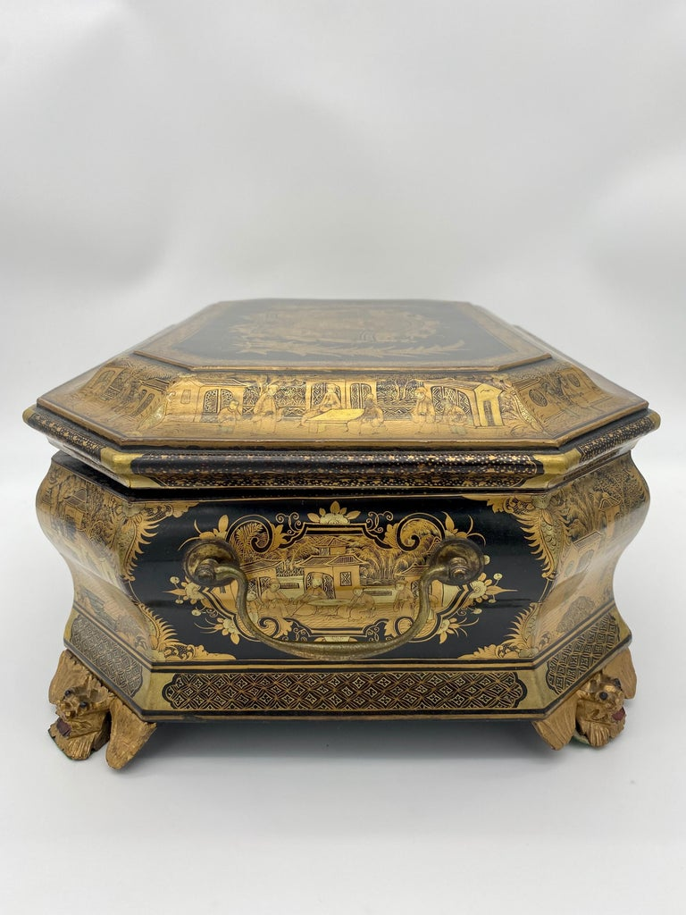 19th Century Chinese Lacquer Sewing Box For Sale 7