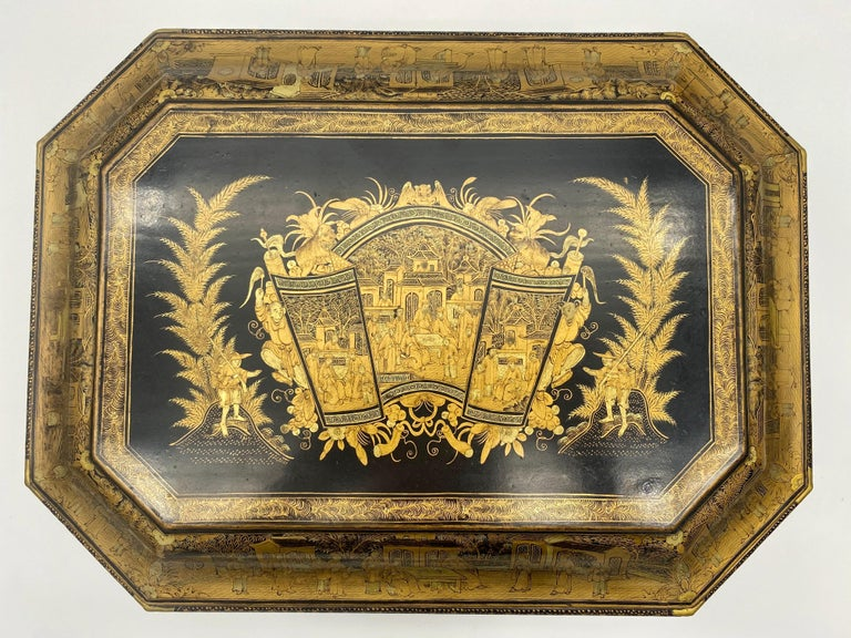 19th Century Chinese Lacquer Sewing Box For Sale 8