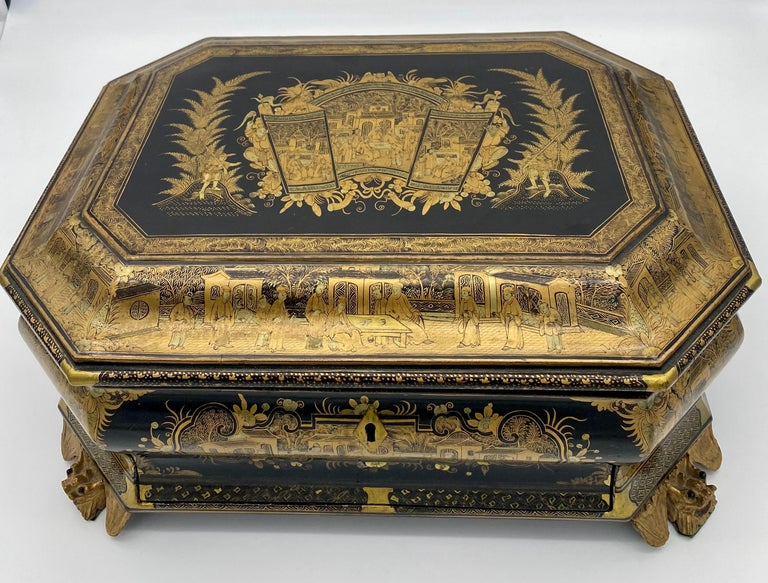 19th Century Chinese Lacquer Sewing Box For Sale 9