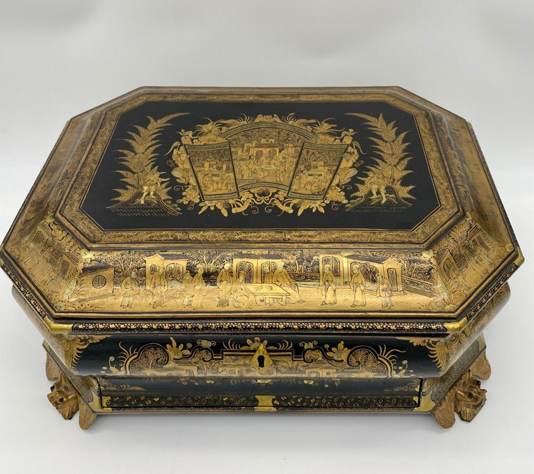 19th Century Chinese Lacquer Sewing Box For Sale 10