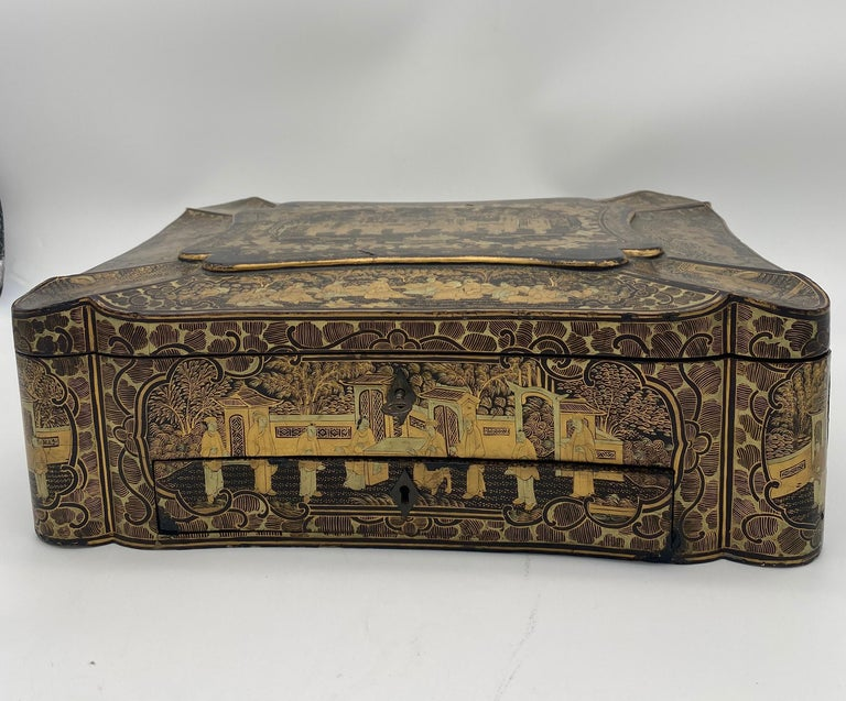 Qing 14 inch 19th Century Chinese Lacquer Sewing Box For Sale