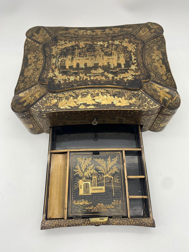 Lacquered 14 inch 19th Century Chinese Lacquer Sewing Box For Sale
