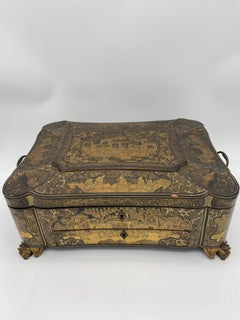 19th Century 14.25'' Large Chinese Lacquer Sewing Box
