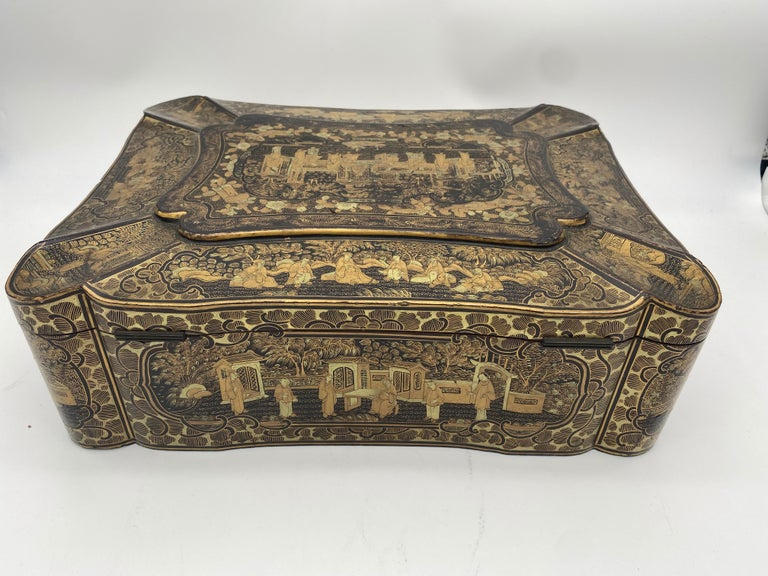 14 inch 19th Century Chinese Lacquer Sewing Box For Sale 2