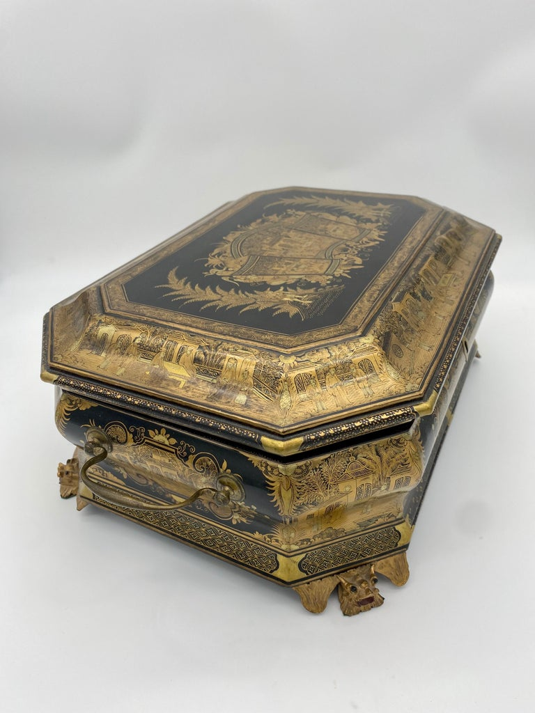 19th Century Chinese Lacquer Sewing Box For Sale 2