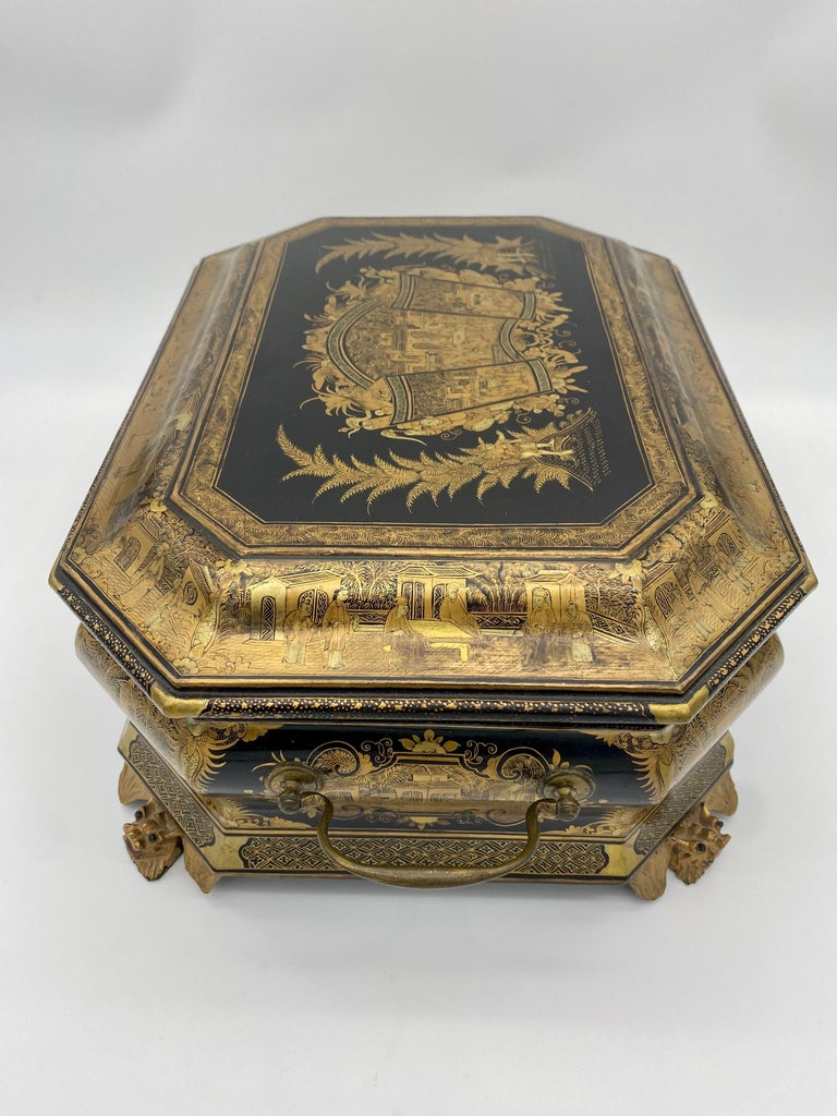19th Century Chinese Lacquer Sewing Box For Sale 3