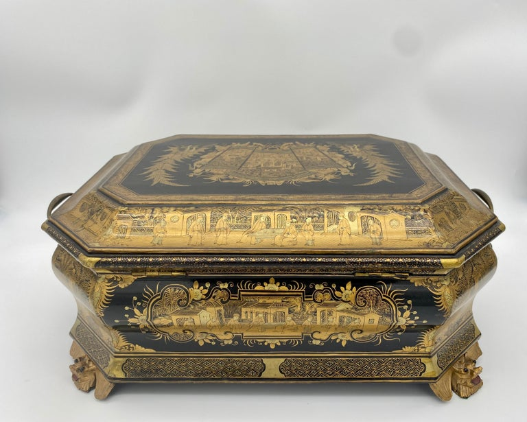 19th Century Chinese Lacquer Sewing Box For Sale 4