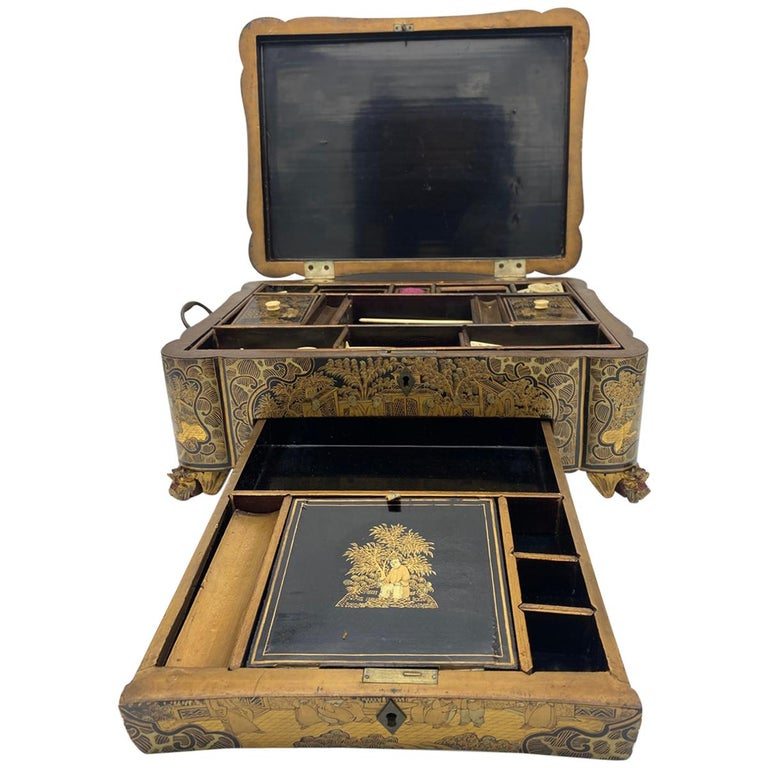 19th century Chinese lacquer sewing box from the Qing Dynasty. Decorated beautifully all over with intricate designs and images of ancient Chinese people on the top.