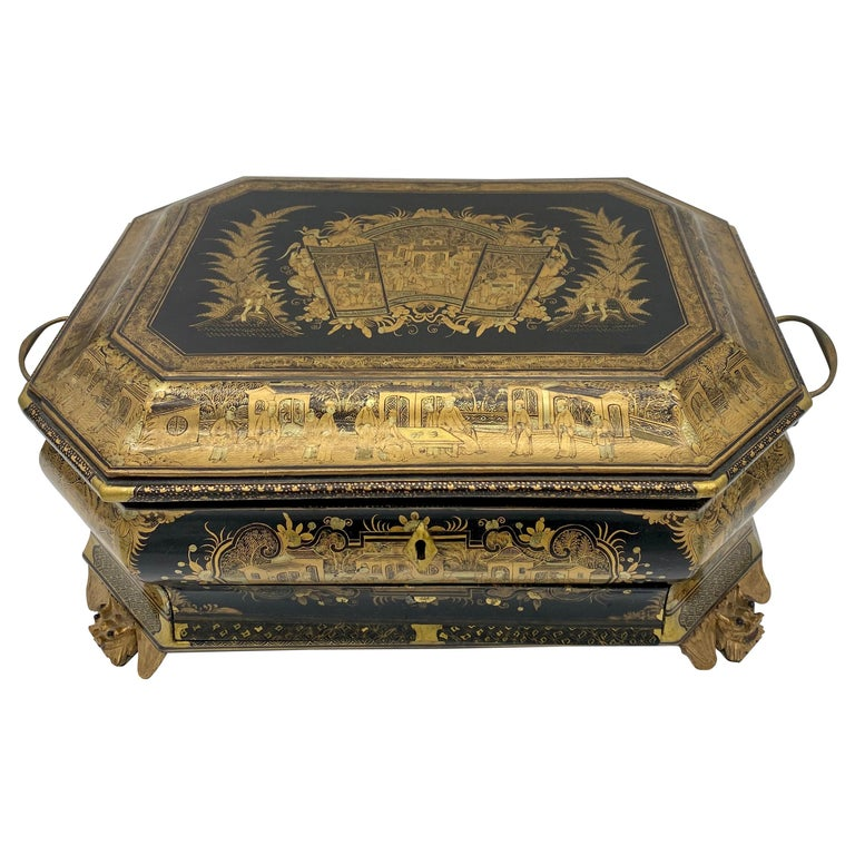 19th Century Chinese Lacquer Sewing Box For Sale